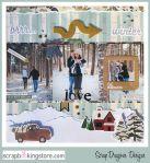 ScrapDragonsDesigns - romantic engagement scrapbook layout